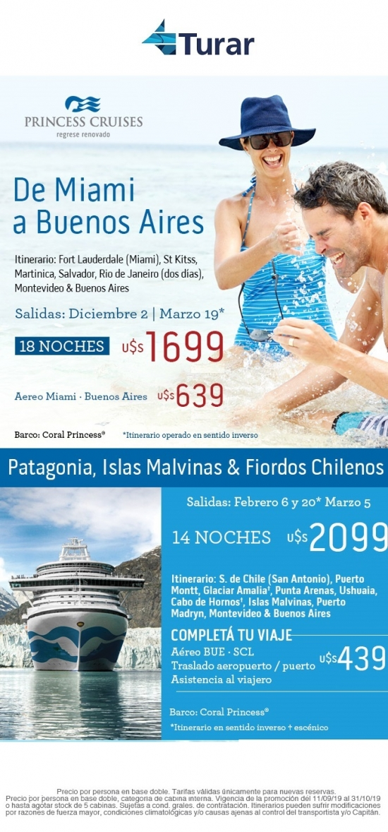 De Miami a Buenos Aires + Patagonia