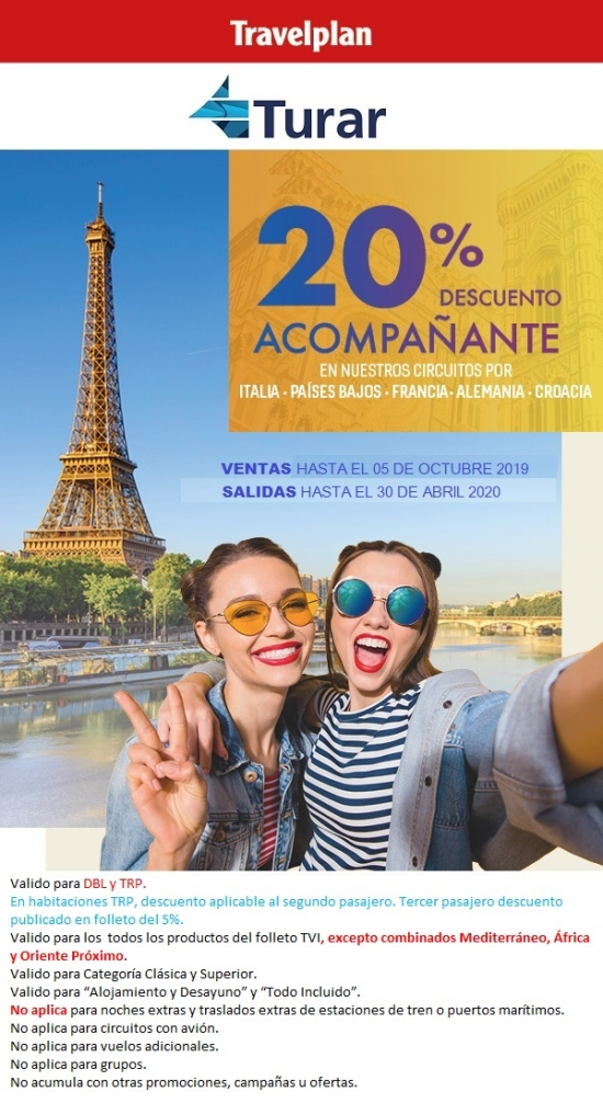 20% descuento al acompañante - Travel Plan
